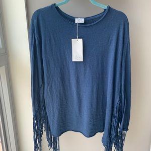 Zara Trafaluc blue fringe long sleeve top size M